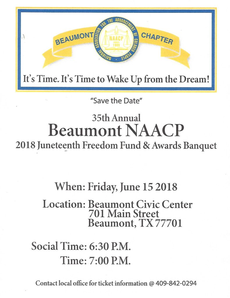 NAACP Beaumont Freedom Fund Banquet 2018 - Save the Date